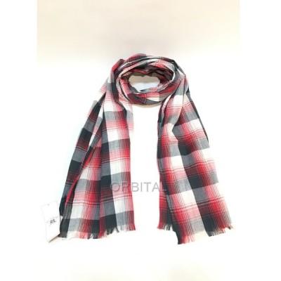 経堂) RRL ダブルアールエル インド製 コットン ストール レッド グレー チェック タグ付き 未使用 スカーフ