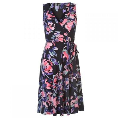 ディーケーエヌワイ DKNY Occasion レディース ワンピース Vネック ワンピース・ドレス V Neck Waist Tie Dress Boo/Blk Combo