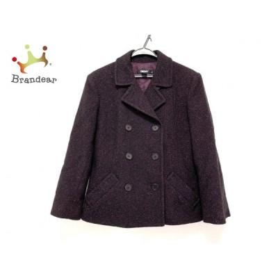 ダナキャラン DKNY Pコート サイズ14 XL レディース 美品 - 黒×ボルドー 長袖/ラメ/冬   スペシャル特価 20210212