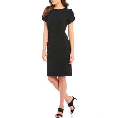 カルバンクライン レディース ワンピース トップス Tulip Sleeve Solid Sheath Stretch Dress Black