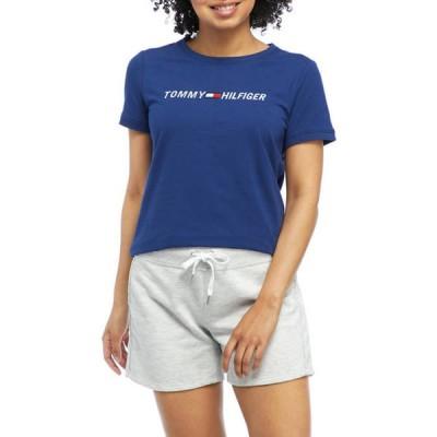 トミー ヒルフィガー レディース Tシャツ トップス Slim Crew Neck Logo T-Shirt