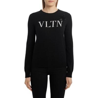 ヴァレンティノ VALENTINO レディース ニット・セーター トップス Sequin Star Logo Sweater Nero/Avorio