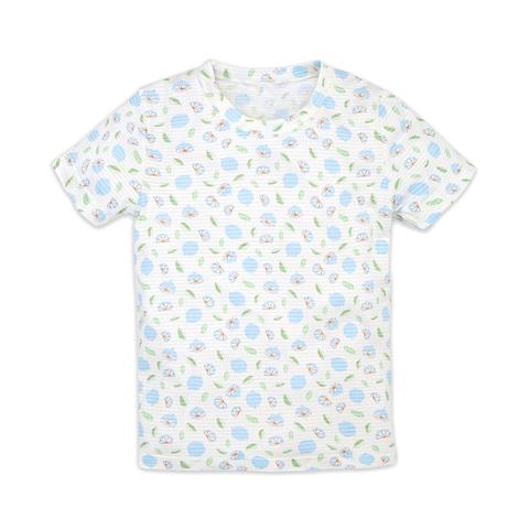 麗嬰房 幼童冰牛奶印花短袖上衣-瓷藍色 (2號/3號/4號/6號/8號)