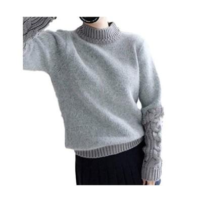 [ コンテッツァ] レディース ミックス 変わり編み ふわもこ 長袖 セーター ファー & ざっくり ケーブル ニット (グレー)