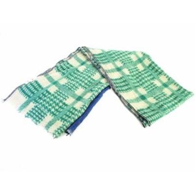 【中古】モアモン MOISMONT マフラー ストール フリンジ ウール 100% 白 緑 青 ホワイト グリーン ブルー レディース