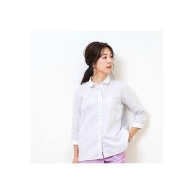 トーキョーシャツ TOKYO SHIRTS 形態安定ノーアイロン クレリックラウンド衿 やわらかガーゼ 七分袖ビジネスワイシャツ (ライトグレー)