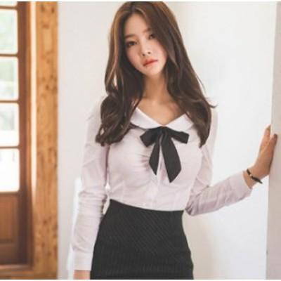 春新作 丸襟 長袖 シャツ ブラウス リボン 可愛い きれいめ 上品 オルチャン トレンド 通学 デート 女子会 お呼ばれ