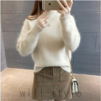 ニットセーターレディースニット4色長袖大人ゆったり着やすいセーターカジュアル人気秋冬