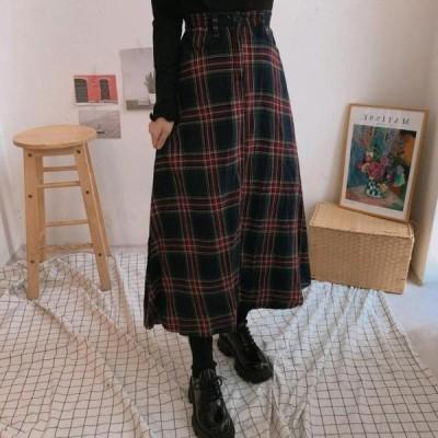 レディース スカート 519 tartan check flared long skirt