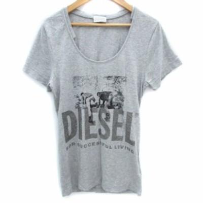 【中古】ディーゼル DIESEL Tシャツ カットソー ロング丈 半袖 Uネック ロゴ プリント XS グレー /FF15 レディース