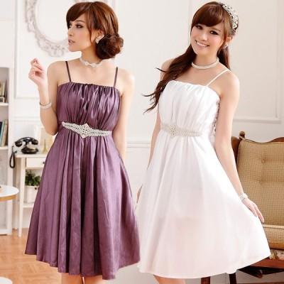 送料無料 大きいサイズ ビジュー付きキャミドレス 結婚式、パーティードレス フォーマル Aライン F/4L 9509