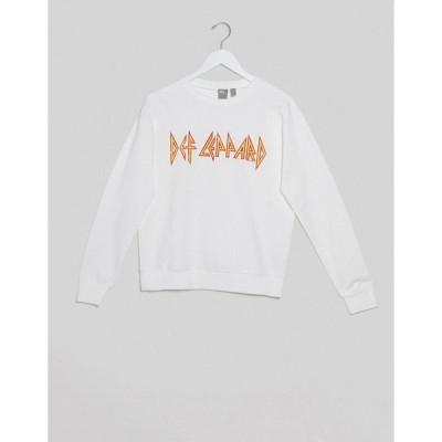 エイソス パーカー スウェット トレーナー レディース ASOS DESIGN sweatshirt with Def Leppard band print エイソス ASOS ホワイト 白