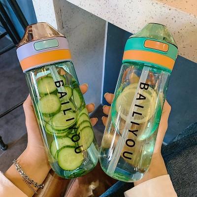 💛送料無料💛水筒女子学生プラスチックのコップが可愛い少女携帯夏スポーツ大人子供の水筒大容量のアイデアの潮流の女子学生の清新なコップが漏れます