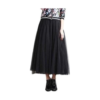 [ニーマンバイ] チュール レース スカート ボリューム ふんわり 抜け感 長さ 3サイズ レディース (ブラック 長さ78cm)
