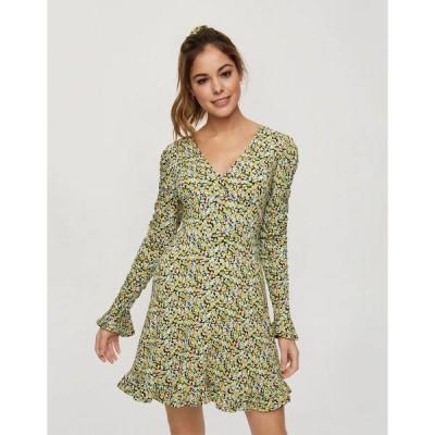 ミスセルフフリッジ レディース ワンピース トップス Miss Selfridge fit and flare mini dress in green floral Green 1