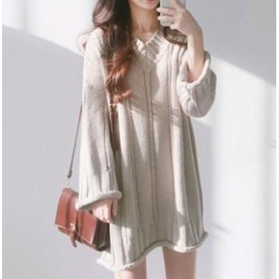 秋新作 韓国ファッション ニットワンピース セーター ケーブル編み カットソー レディース 大人 ロングワンピース フリー