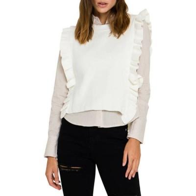 イングリッシュファクトリー レディース シャツ トップス Women's Poplin Shirt with Detachable Knit Vest