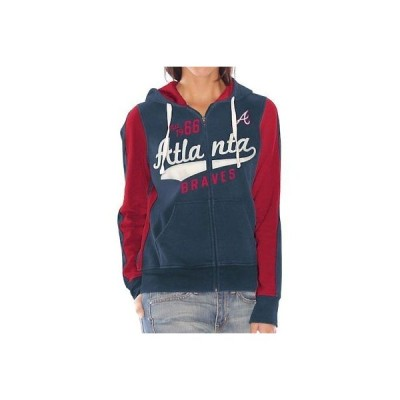 野球 MLB ジースリーフォーハーバイカールバンクス Atlanta Braves Women's Navy Blue Point After Full Zip Hoodie