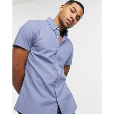 エイソス ワークシャツ メンズ ASOS DESIGN short sleeve slim fit oxford shirt in blue エイソス ASOS ブルー 青