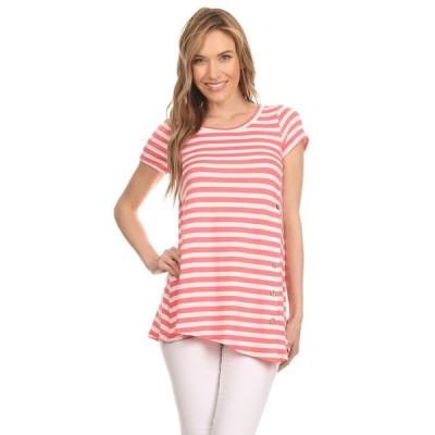 MOA Collection 海外直輸入ブランドアクセサリー レディース Spandex/Rayon Striped Short-sleeve Tunic Top