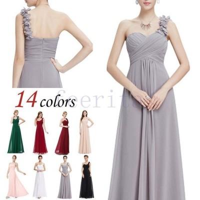 【サイズ有S?4XL】パーティードレス ロング丈 マキシ丈 14colors 大きいサイズ ドレス ワンピース シフォン 20代 30代 40代 Vネ