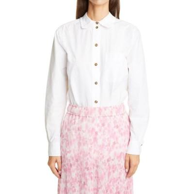 ガニー GANNI レディース ブラウス・シャツ トップス Organic Cotton Poplin Shirt Bright White