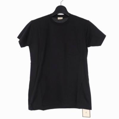 【中古】未使用品 キューエル マンションメーカー 17AW クルーネック カットソー Tシャツ 半袖 ロゴ 46 黒 メンズ