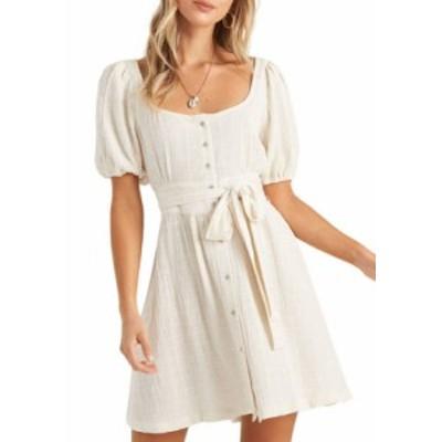 ビラボン レディース ワンピース トップス Puff Sleeve U-Neck Tie Waist Dress White Cap