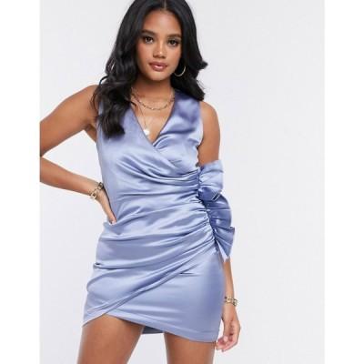 ガールコード The Girlcode レディース ワンピース ラップドレス ミニ丈 ワンピース・ドレス satin ruffle wrap mini dress in blue ブルー