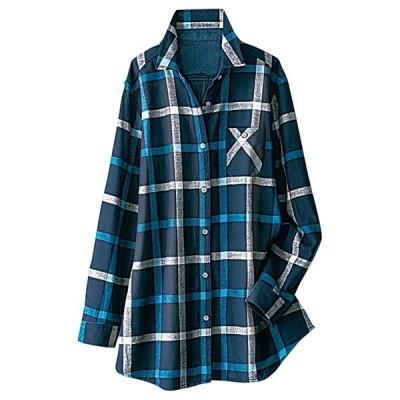 アウター あったか裏フリースチェック柄ロングシャツ