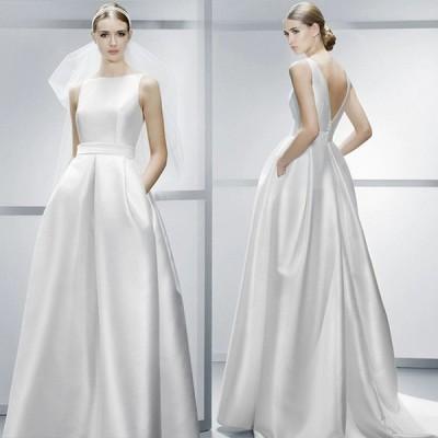 ホワイト イブニングドレス サテン ロングドレス ノースリーブ 背開き セクシー 30代 40代 演奏会ドレス 編み上げ パーティードレス 二次会 お呼ばれ