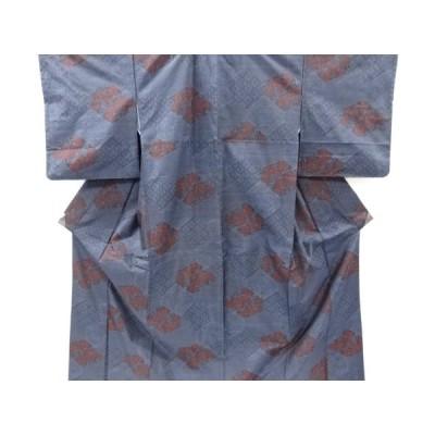 宗sou 石畳に花唐草模様織り出し本場泥大島紬着物アンサンブル【リサイクル】【着】