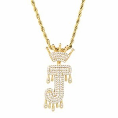 HECHUANG Initial Letter Pendant Necklace for Women Men Gold Name Necklace Gold Silver Stainless Steel Rope Chain(Gold J, 24)
