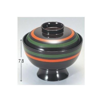 小吸椀 高仙才吸椀うるみ朱緑線引 漆器 高さ78 直径:118/業務用/新品