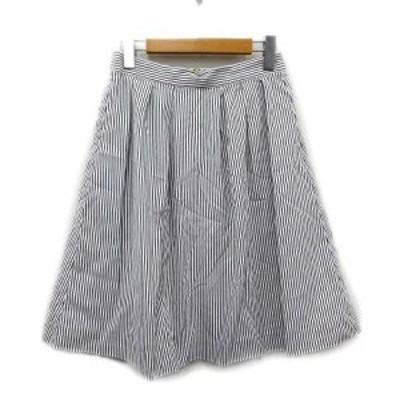 【中古】美品 テチチ Te chichi ストライプ 台形 スカート タック プリーツ イージー M 白 グレー レディース▲6