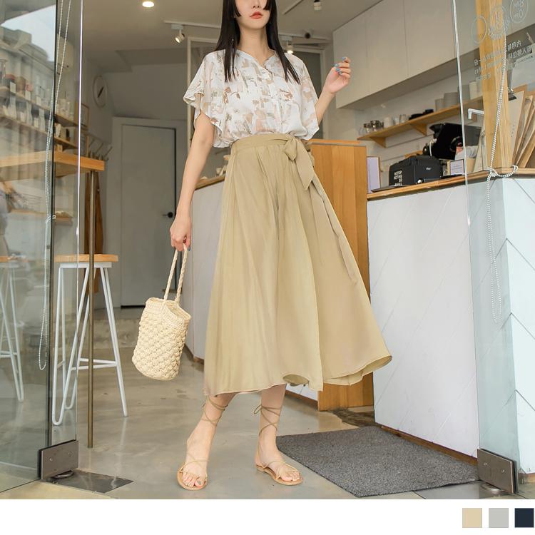 純色觸膚涼感腰鬆緊綁帶傘襬長裙