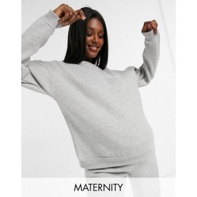 チェルシーペアーズ Chelsea Peers レディース スウェット・トレーナー マタニティウェア Maternity organic cotton heavy wieght lounge sweat in grey marl
