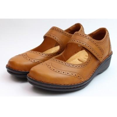 HPS エイチピーエス 靴 パンプス ライトブラウン 本革 コンフォートシューズ ストラップパンプス ウィングチップ