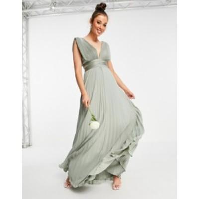 エイソス レディース ワンピース トップス ASOS DESIGN Bridesmaid pleated cami maxi dress with satin wrap waist Olive