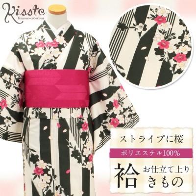 着物 小紋 袷 クリーム ストライプに桜 M Lサイズ レディース 女性 洗える お仕立上がり