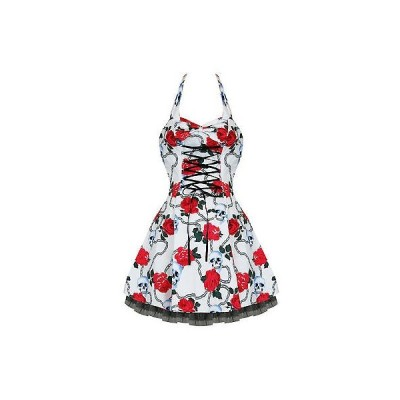 ハーツアンドローズロンドン ドレス ワンピース ハートs And ローズs London ホワイト Gothic スカル ローズ ミニ パーティ Prom ドレス UK