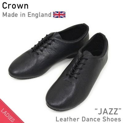 クラウン CROWN JAZZ レザーシューズ BLACK レディース ダンス オールブラック スニーカー バレエシューズ repetto MADE IN ENGLAND 送料無料
