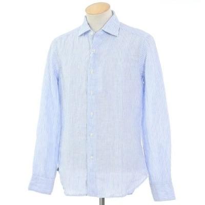 未使用 アーゴ Agho ストライプ柄 リネン ワイドカラー シャツ ブルー×ホワイト 38