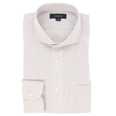 形態安定レギュラーフィット カッタウェイ長袖ビジネスドレスシャツ/ワイシャツ