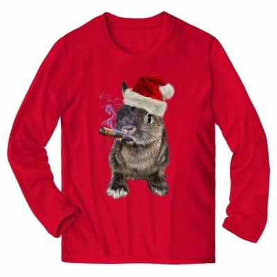 【うさぎ 兎 動物 サンタクロース クリスマス 】メンズ 長袖 Tシャツ by Fox Republic