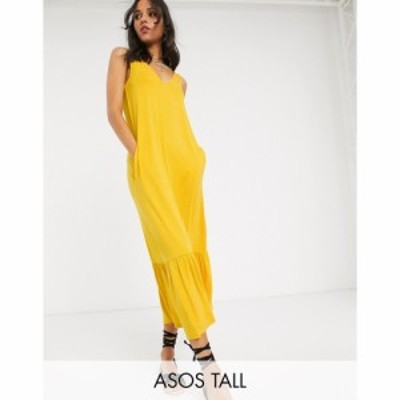 エイソス ASOS Tall レディース ワンピース ティアードドレス ワンピース・ドレス Tall Concealed Pocket Midi Dress With Tiered Hem In