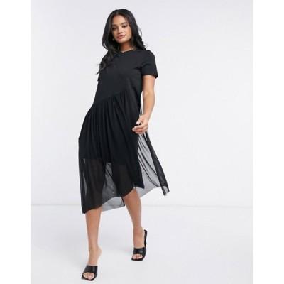 リバーアイランド レディース ワンピース トップス River Island asymmetric mesh layered t-shirt mini dress in black