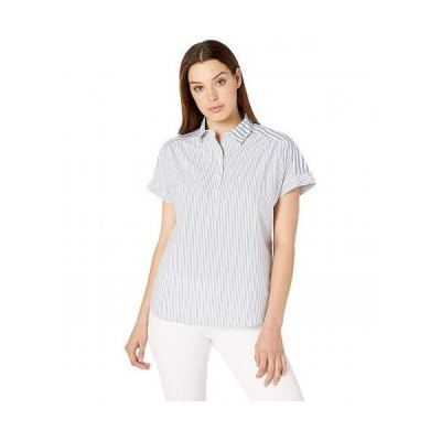 Pendleton ペンドルトン レディース 女性用 ファッション ブラウス Short Sleeve Popover Two Stripe Shirt - Blue/White Mixed Stripe