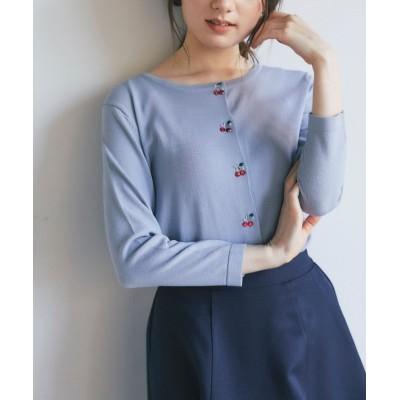 【トッコクローゼット】 チェリーモチーフビジュー刺繍入り七分袖カーディガン レディース GRAYSH BLUE M tocco closet