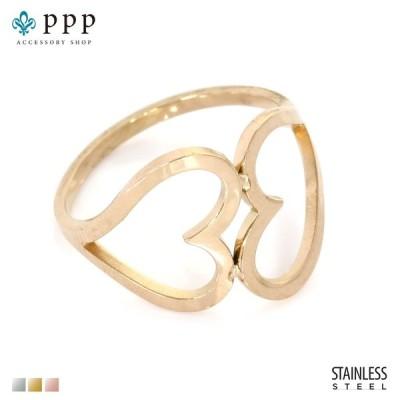 ステンレス リング(106)ツインハート ピンクゴールド(メイン) 指輪 金属アレルギー対応 レディース メンズ 送料無料